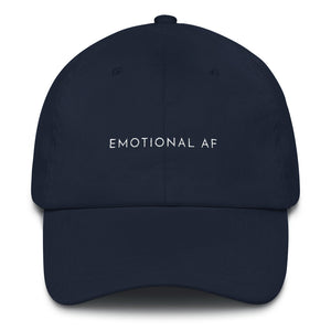 Navy blue embroidered empowering women's statement baseball hat. 'Emotional AF' Ethically made. Still cute AF. [minimalist apparel//sweatshop free]