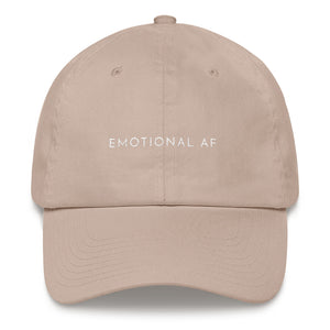Stone embroidered empowering women's statement baseball hat. 'Emotional AF' Ethically made. Still cute AF. [minimalist apparel//sweatshop free]