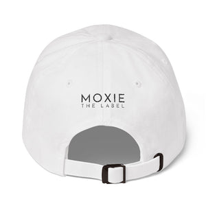 White embroidered empowering women's statement baseball hat. 'Impact over influence' Ethically made. Still cute AF. [minimalist apparel//sweatshop free]