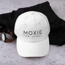 Load image into Gallery viewer, White embroidered empowering women's statement baseball hat. 'Moxie The Label' signature design. Ethically made. Still cute AF. [minimalist apparel//sweatshop free]