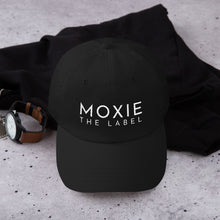 Load image into Gallery viewer, Black embroidered empowering women's statement baseball hat. 'Moxie The Label' signature design. Ethically made. Still cute AF. [minimalist apparel//sweatshop free]