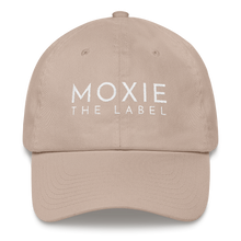 Load image into Gallery viewer, Stone embroidered empowering women's statement baseball hat. 'Moxie The Label' signature design. Ethically made. Still cute AF. [minimalist apparel//sweatshop free]