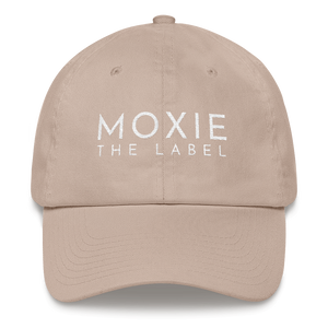 Stone embroidered empowering women's statement baseball hat. 'Moxie The Label' signature design. Ethically made. Still cute AF. [minimalist apparel//sweatshop free]