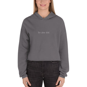 Grey cropped hoodie. Shop Moxie The Label for empowering hoodies with powerful and sassy statements. Slow fashion and sweatshop free. Cropped hoodie perfect for the gym or your airport travel outfit.