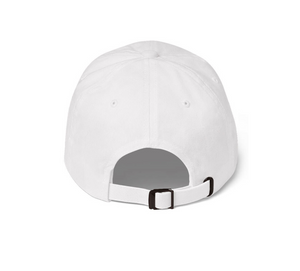 White embroidered empowering women's statement baseball hat. 'Moxie The Label' signature design. Ethically made. Still cute AF. [minimalist apparel//sweatshop free]