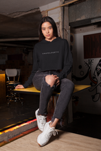 Load image into Gallery viewer, Black cropped hoodie. Shop Moxie The Label for empowering hoodies with powerful and sassy statements. Slow fashion and sweatshop free. Cropped hoodie perfect for the gym or your airport travel outfit.