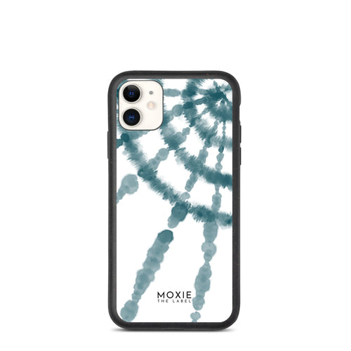 Teal Tie Dye Spiral - Biodegradable phone case
