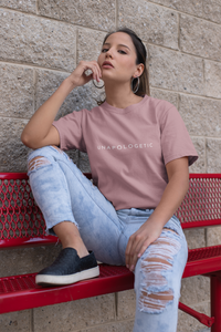 Mauve basic tee. Shop Moxie The Label for empowering tees with powerful and sassy statements. Slow fashion and sweatshop free. Wear it for the perfect oversized t-shirt outfit, tucked in for a bit of prep, or tied up for the cropped look.
