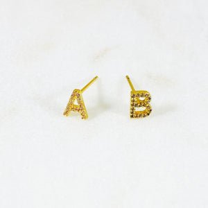 Pave Letter Stud Earring