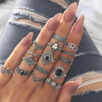 15 Pcs Bohemian Ring Set