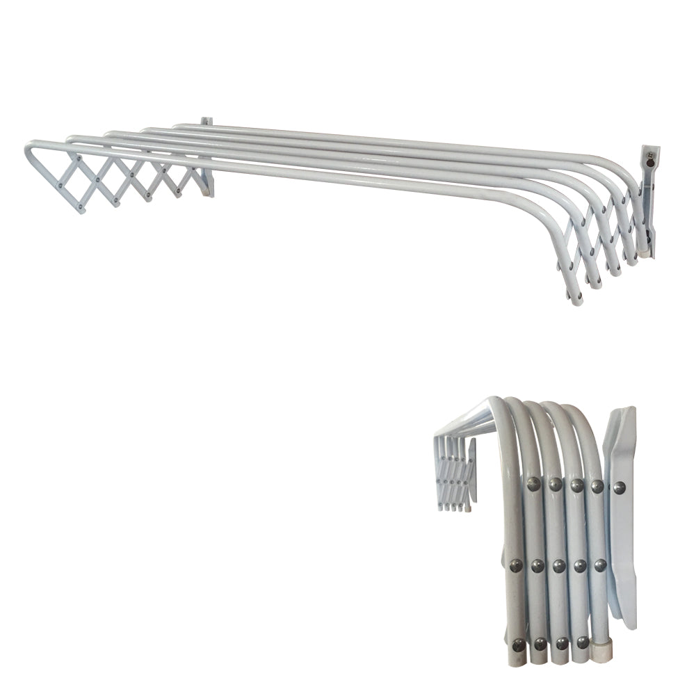 "32"" Retractable Wall Mount Towel Rack Powder Coated Steel, White"