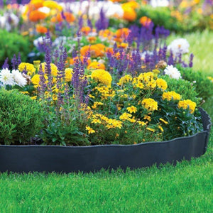 ABBA ECO Garden Border Fencing Recycled Plastic Section 6 Pack, 24.2 Inch X 5.4 Inch, Black