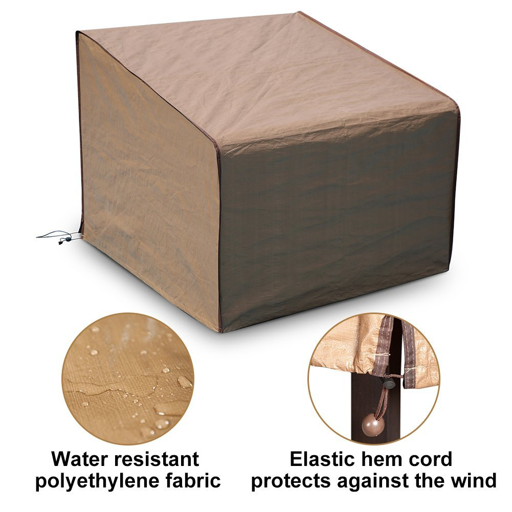 "Porch Single Lounge Chair Cover, All Weather Protection, Brown, 34"" L x 35"" W x 31.5"" H"