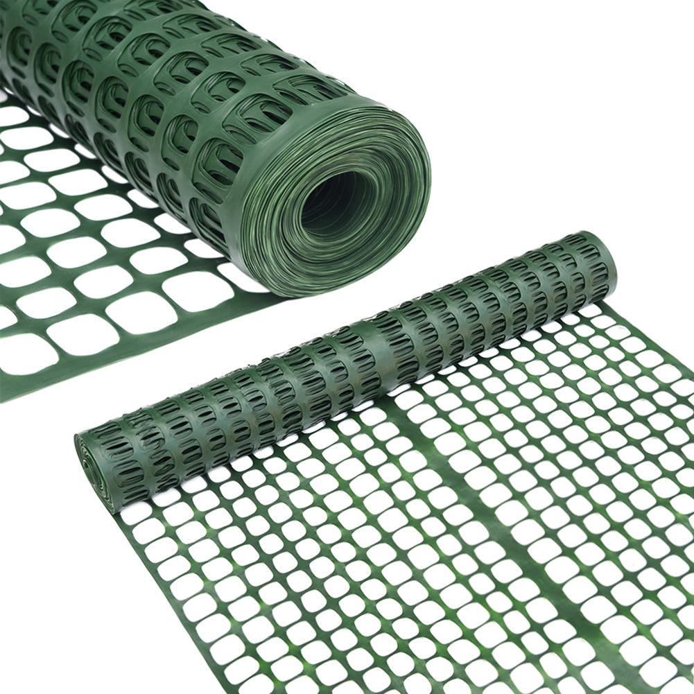 Abba Patio Snow Fencing, Lightweight Safety Netting, Recyclable Plastic Barrier, Dark Green, 2 X 25' Feet