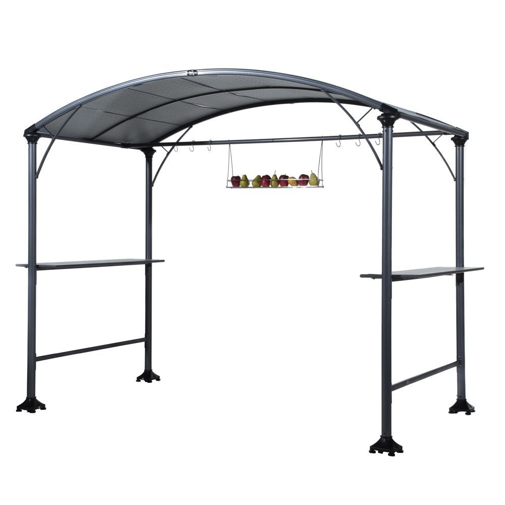 9' x 5' Outdoor Backyard BBQ Grill Gazebo with Steel Canopy, Gray