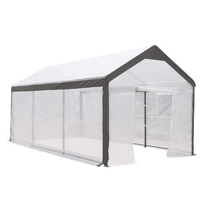 10 x 20 Feet Large Walk in Greenhouse with Windows, White