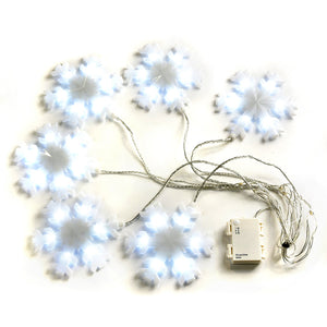 Abba Patio Snowflake String Lights, 59 inch x 11 inch 36 LEDs Battery Powered Decorative Fairy Lights Waterproof Timer Function For Bedroom Party Wedding Festival, White