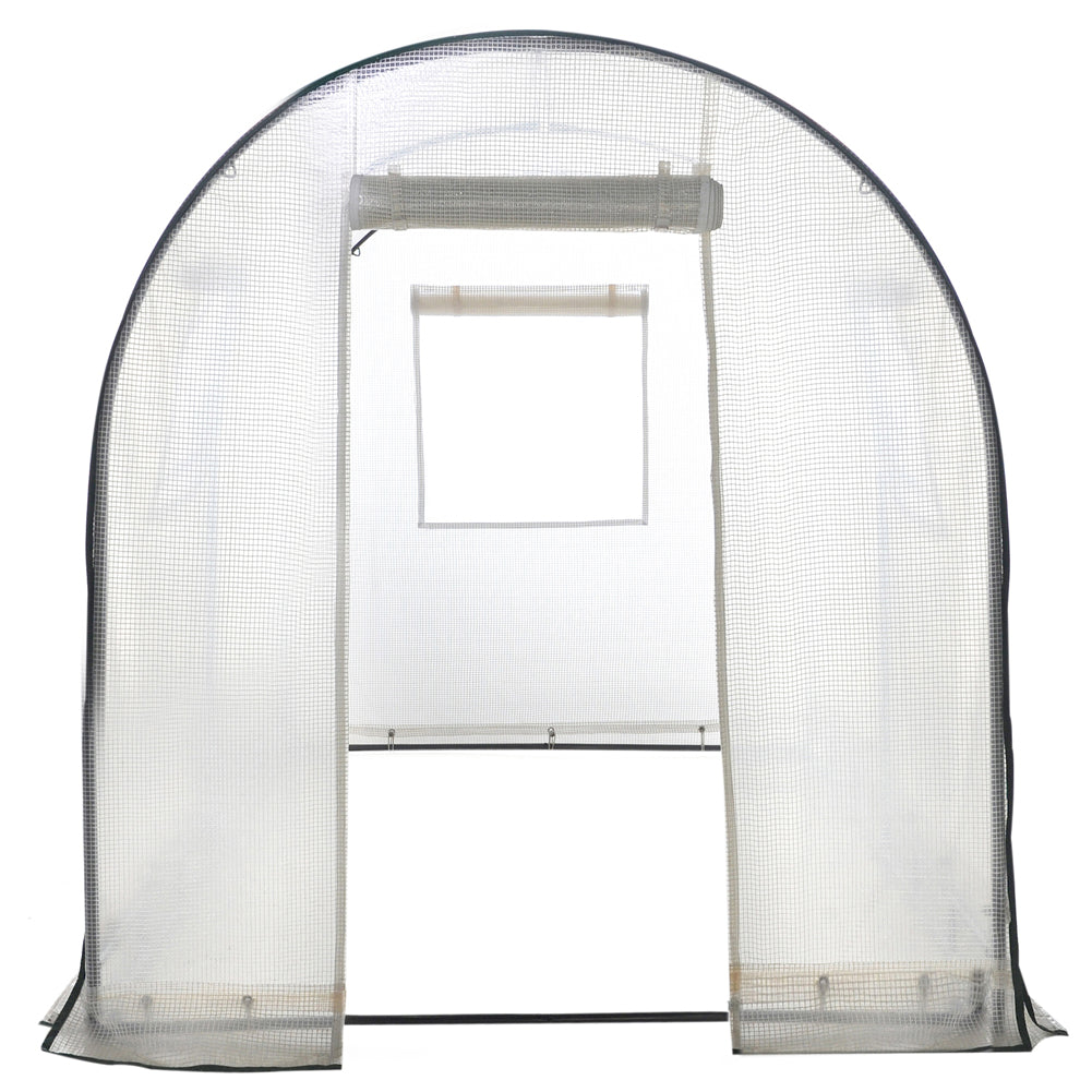 Abba Patio Walk In Greenhouse 8ft L X 6ft W X 6.6ft H Fully Enclosed With Windows, White