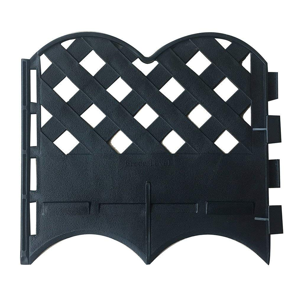 Decorative Garden Fence Set-12 Pack, 6.4 Inch X 5.7 Inch, Black