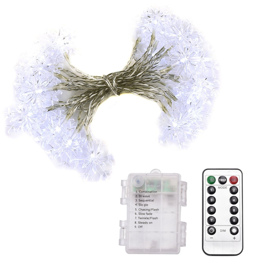 23ft 50LED String Lights 8 Modes Remote Control, Battery Operated Dimmable Snowflake Lights for Patio, Garden, Gate, Yard, Party, Wedding, White