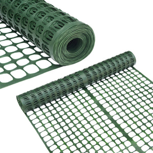 2 X 25' Feet Snow Fencing, Lightweight Safety Netting, Recyclable Plastic Barrier Environmental Protection, Dark Green,