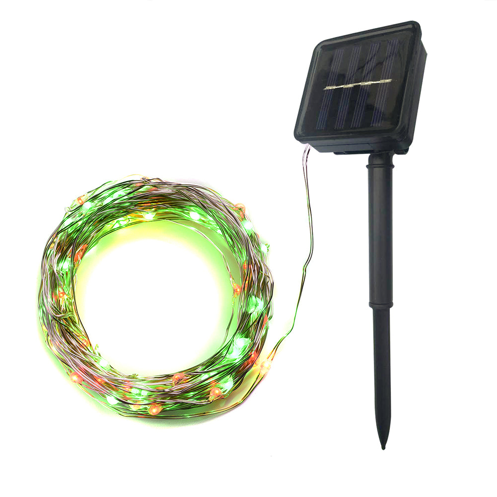 Abba Patio Solar String Lights, 32ft 100LED Outdoor String Lights 8 Modes with Remote Control, Waterproof Red & Green 1 Pack