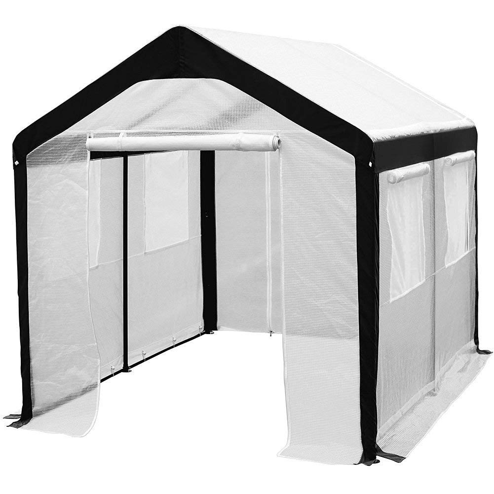 8 x 10-Feet Large Walk in Greenhouse with Windows, White