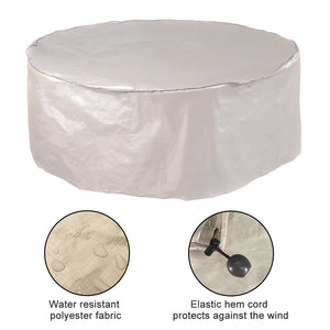 Abba Patio Outdoor Round Table and Chair Set Cover Porch Furniture Cover Waterproof, Beige, 84'' Dia.