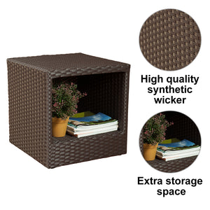 Abba Patio Outdoor Wicker Patio Square End Table Side Table with Storage, 16''W x 16''D x 16.1''H