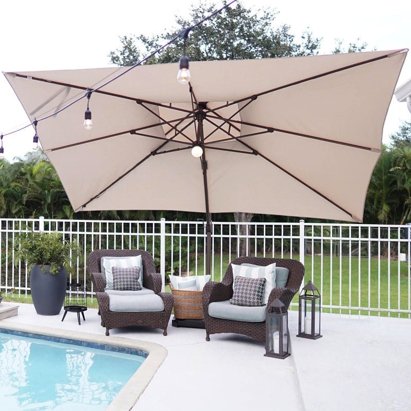 Abba Patio 9 x 12 Feet Rectangular Offset Cantilever Umbrella with Solar Lights