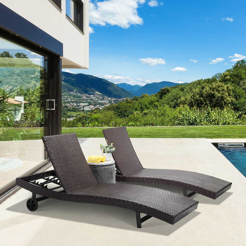 Reclining Chaise Lounge with Wheels (Set of 2)
