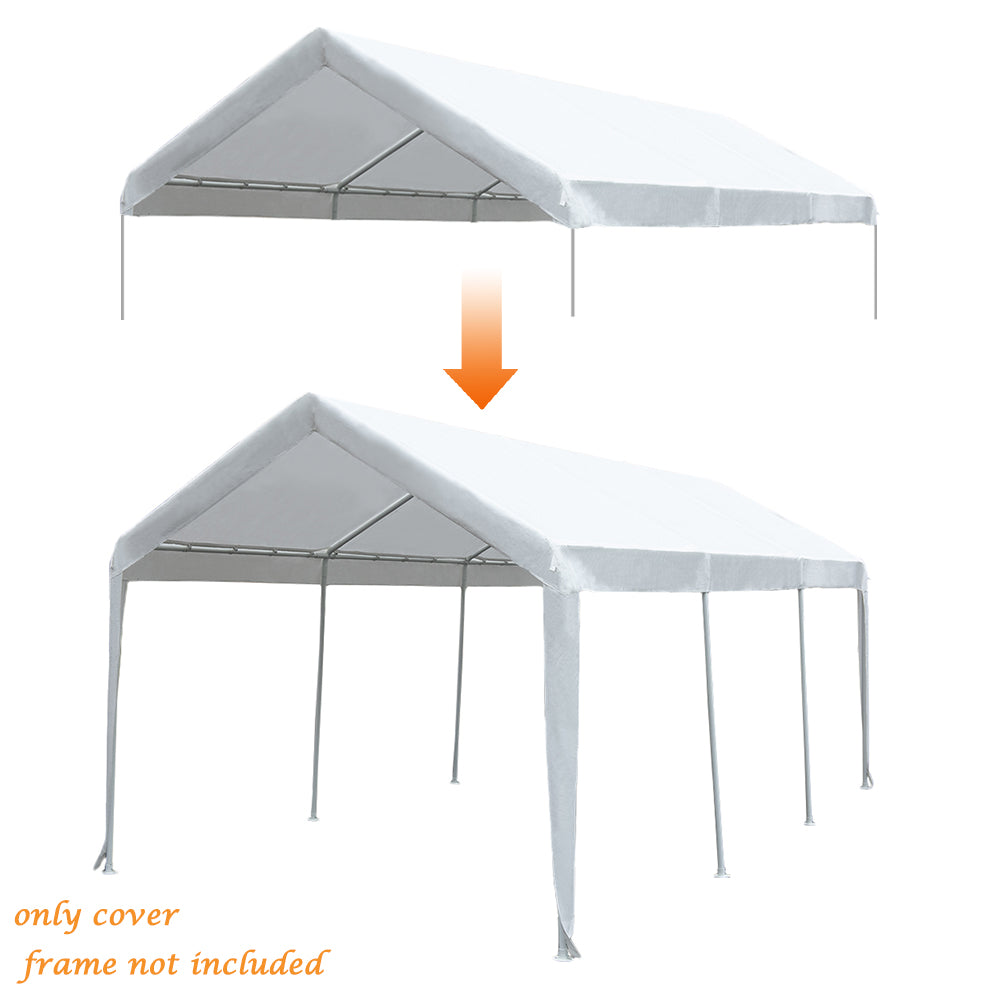 Replacement Top Canopy Cover for 10 x 20-Feet 8 Legs Carports Garage Shelter with Ball Bungees, (Frame Not Included)