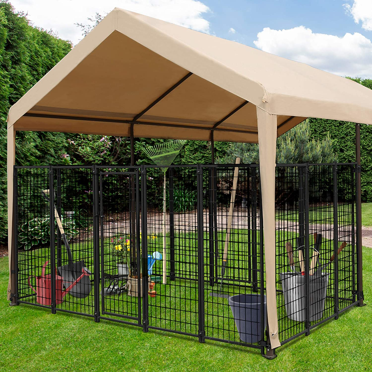 10 x 6.7 ft Heavy Duty Steel Detachable Fence for Storage or Pet Cage