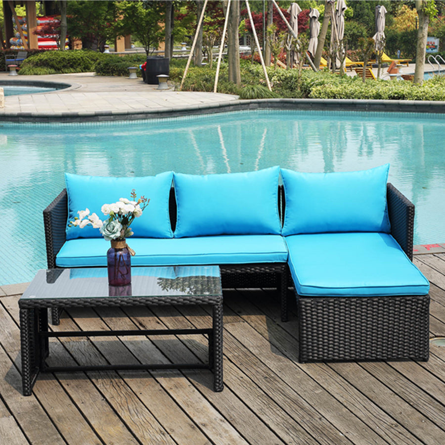 Outdoor 3 Piece Sofa Seating Group with Cushions