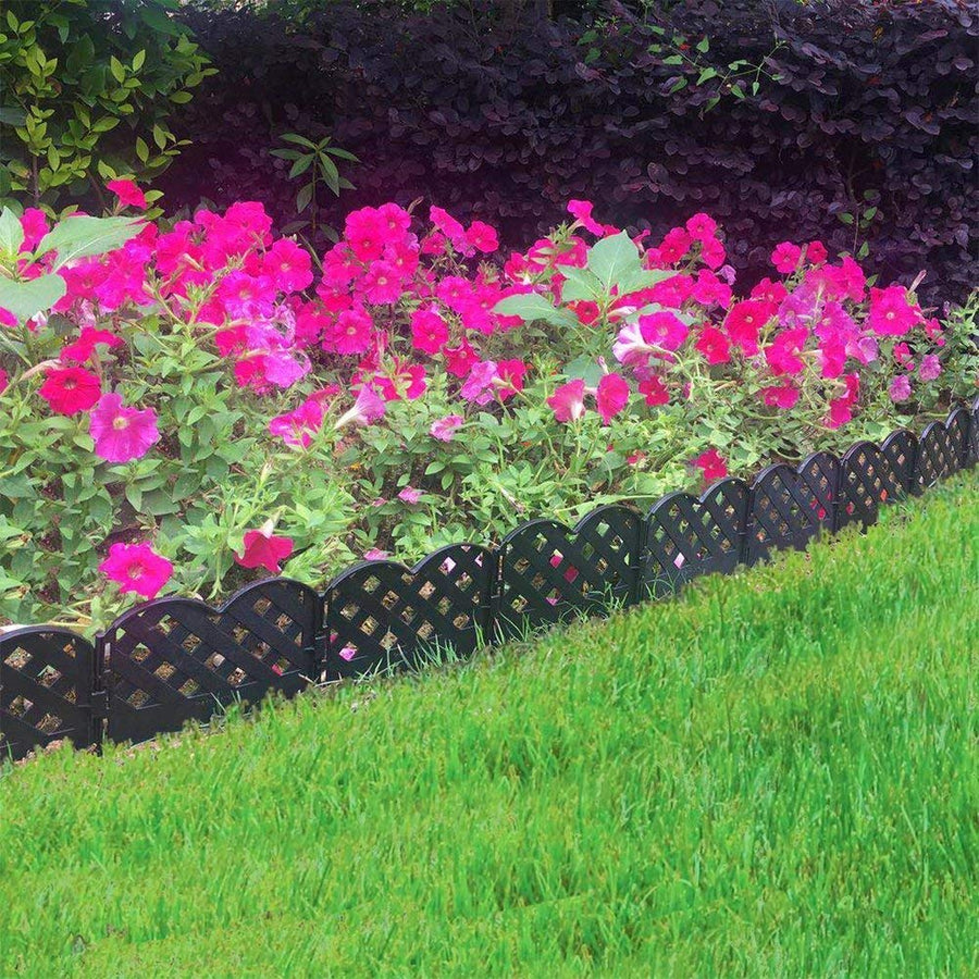ABBA ECO Decorative Garden Fence Set-12 Pack, 6.4 Inch X 5.7 Inch, Black