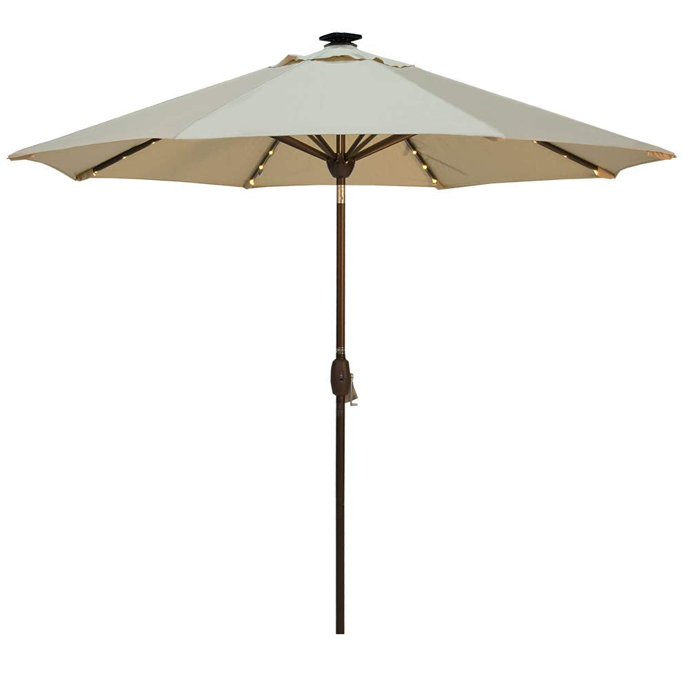 SORARA 9 Feet Patio Umbrella with Solar Powered 64 LED Lights (Cover Included)
