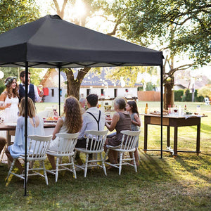 10 x 10 Feet Outdoor Pop Up Portable Shade Instant Folding Canopy with Roller Bag, Dark Grey
