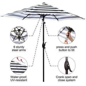 9-Feet Market Table Umbrella With Push Button Tilt And Crank, Black Striped