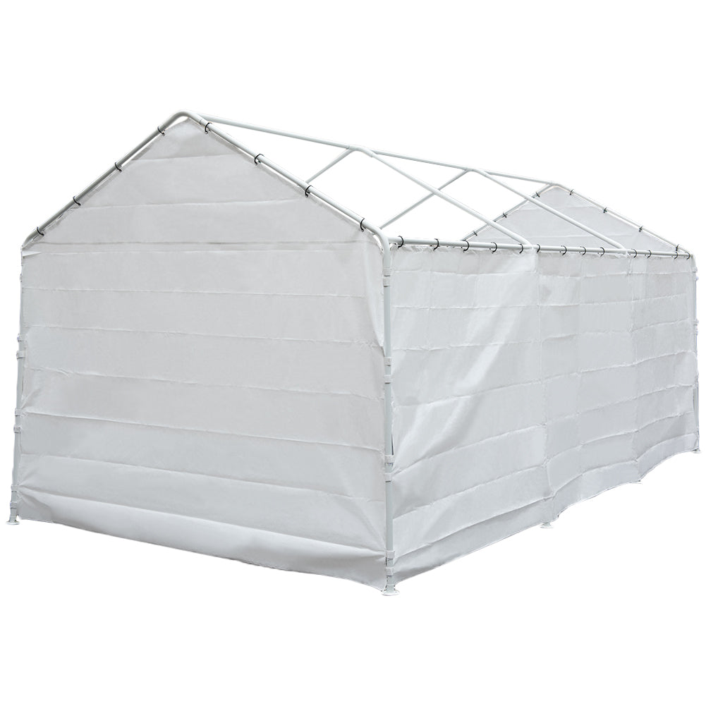 Replacement Cover for 12 x 20-Feet 8 Legs Carport Shelter with Rings, White (Frame & Top Cover Not Included)