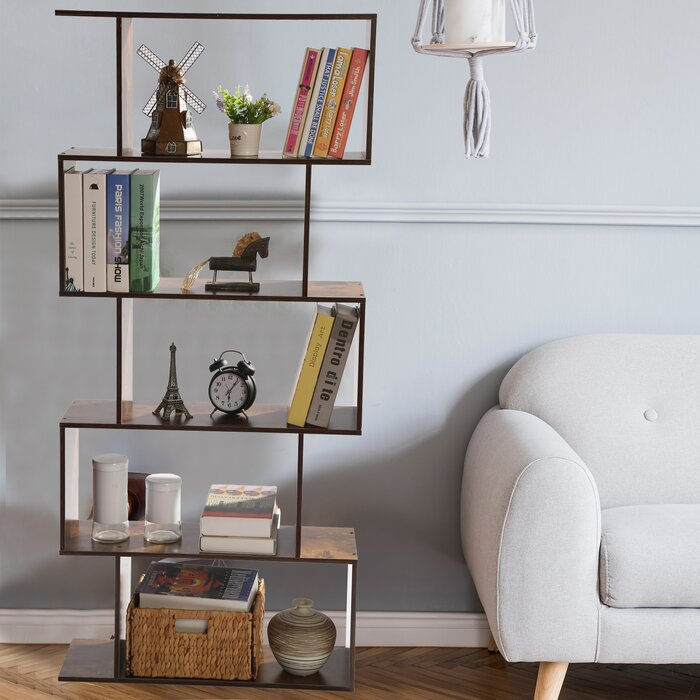 5-Tier Geometric Display Bookshelf
