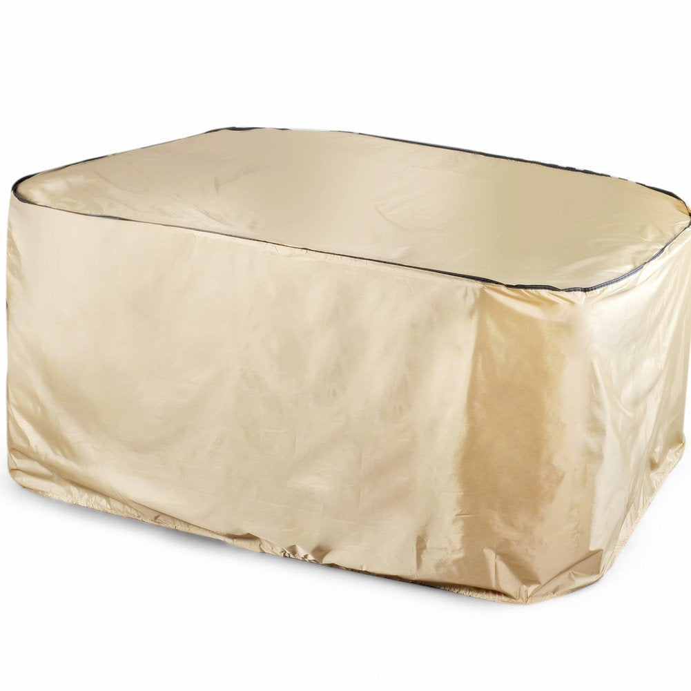 Rectangular Table and Chair Set Cover, Water-repellent and Fire Resistant, Tan Color, Medium