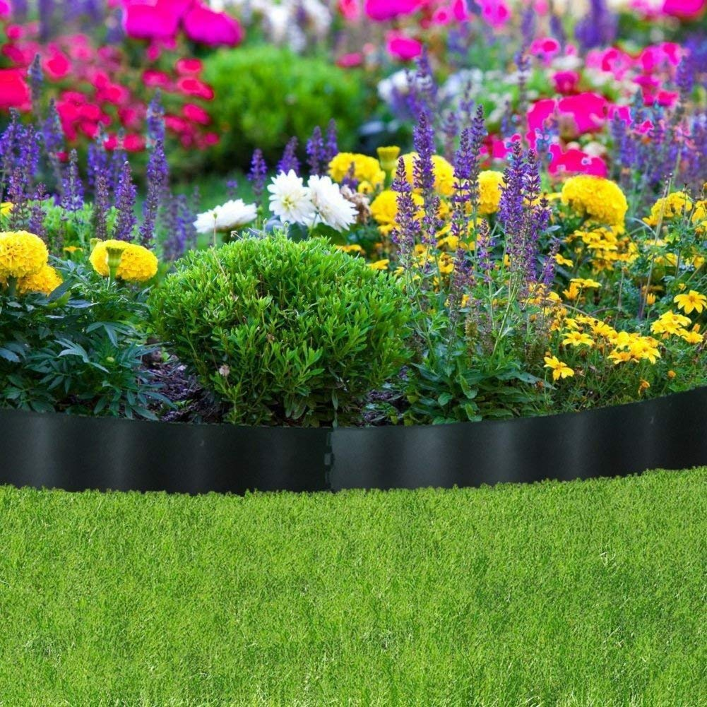 Border Fencing Eco-Friendly Weatherproof Recycled Plastic Resin Garden Edging Section-6 Pack, 24.2 inch x 5.4 inch, Black