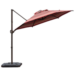 9 Feet Offset Cantilever Umbrella with Cross Base, Striped