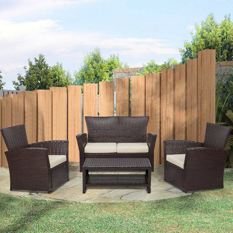 4 Piece Rattan Sectional Seating Group with Cushions