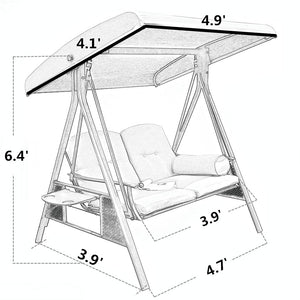 Abba Patio 2-Person Outdoor Porch Swing Hammock with Steel Frame and Adjustable Tilt Canopy