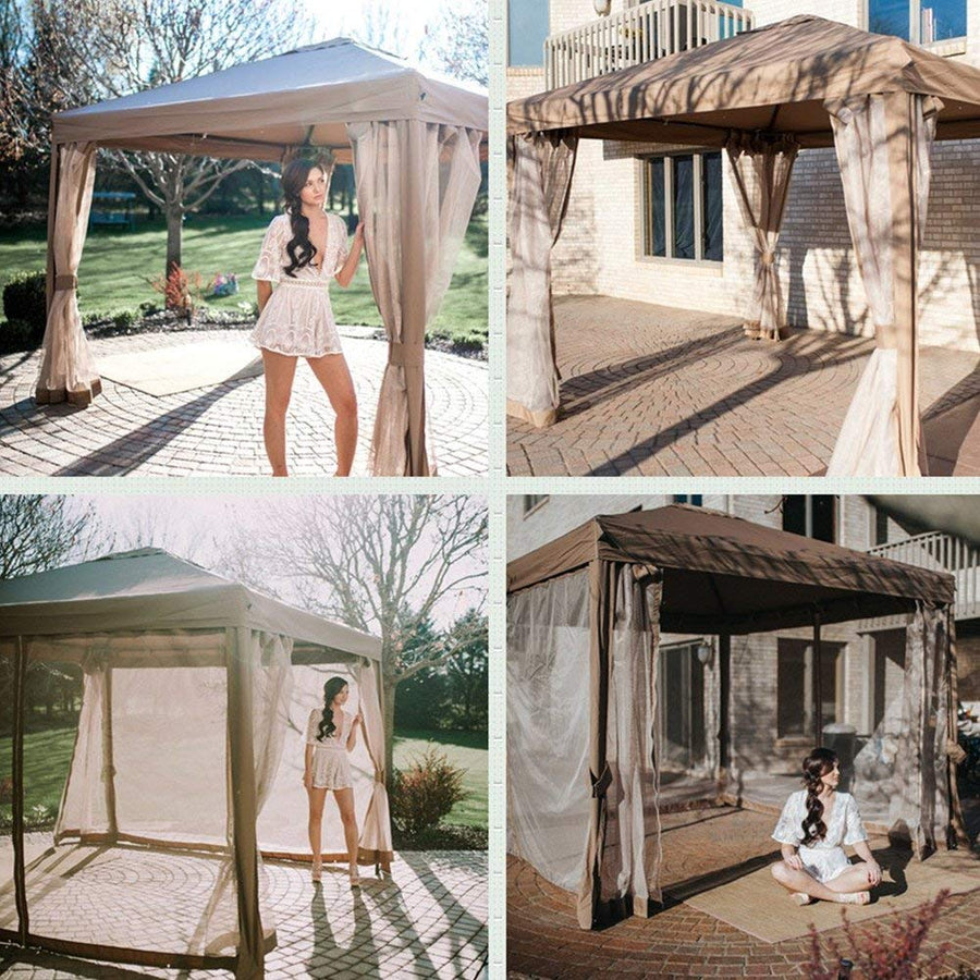 10x10 Feet Soft Top Gazebo Fully Enclosed Garden Canopy with Mosquito Netting