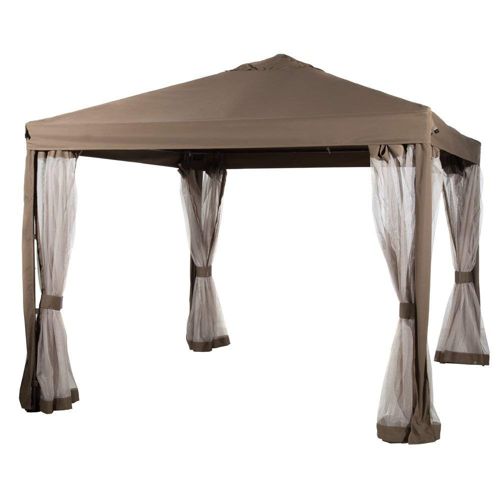 Abba Patio 10x10 Feet Gazebo Soft Top Fully Enclosed Garden Canopy with Mosquito Netting -Brown