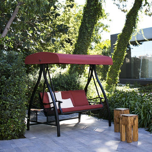 3 Person Outdoor Metal Gazebo Padded Porch Swing Hammock with Adjustable Tilt Canopy, Red