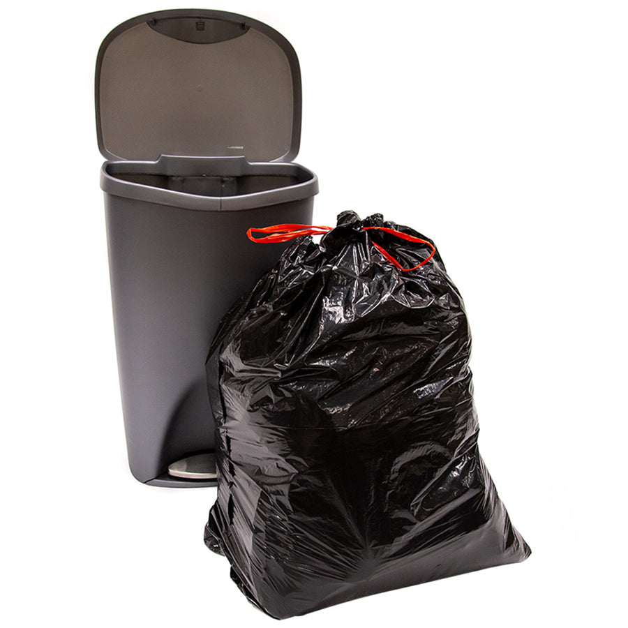 ABBA ECO 30 Gallon Heavy-Duty Tall Kitchen Trash Garbage Drawstring Bag, Black, Qty: 50 count