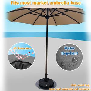 "Abba Patio 22"" Round Umbrella Base Weight Bag Up to 55lbs, Detachable Easy Fill Umbrella Weight"